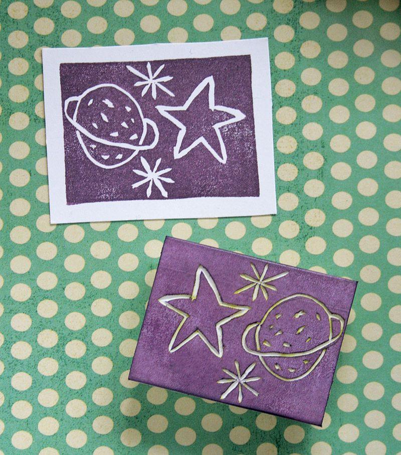 Eraser stamping - space