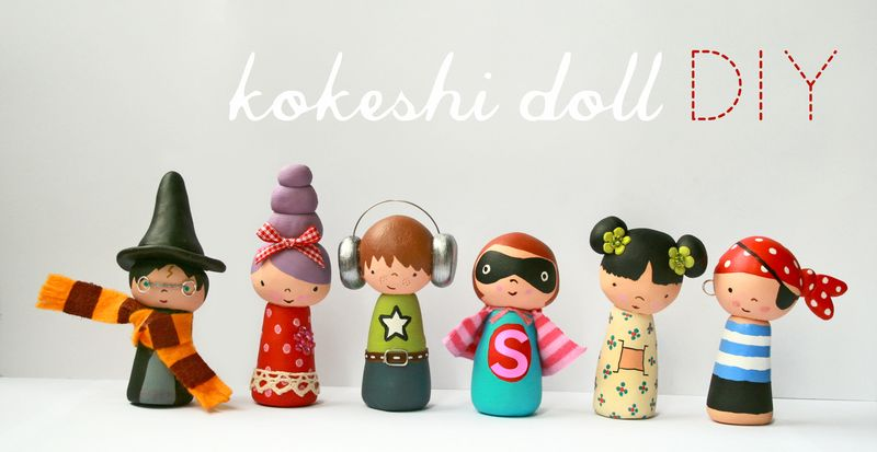 Clay Kokeshi dolls