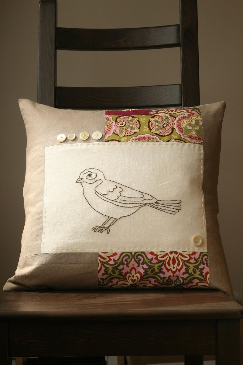 Patchwork bird cushion
