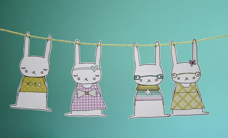Rabbit garland printables