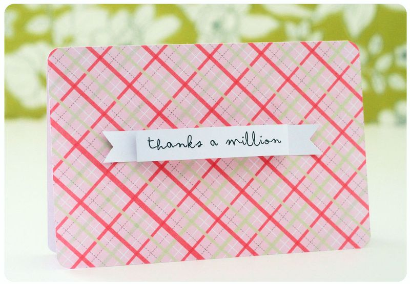 Pink plaid card