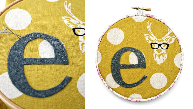 Embroidery hoop letter E