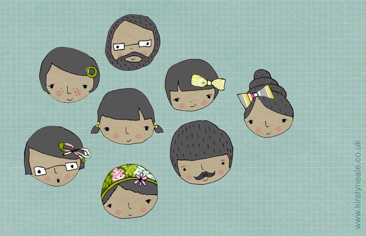 Head sketches (Kirsty Neale)