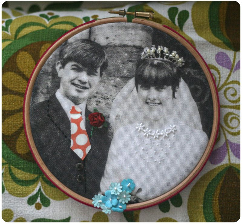 Embellished photo embroidery hoop