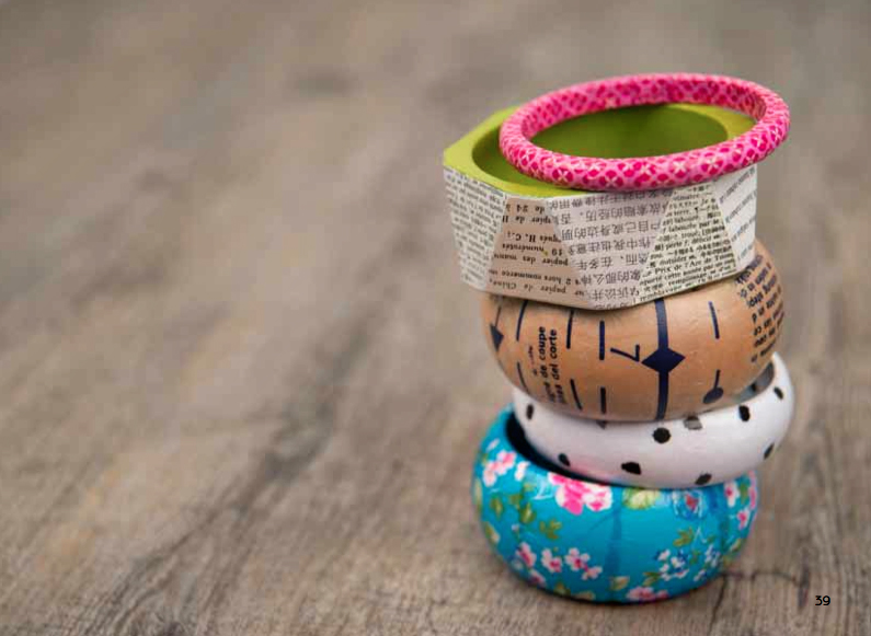 Paper-covered bracelets (from Paperie by Kirsty Neale)
