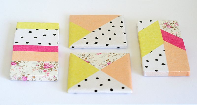 Tissue papered tile coasters (from Paperie 100 Creative Papercraft Ideas by Kirsty Neale)