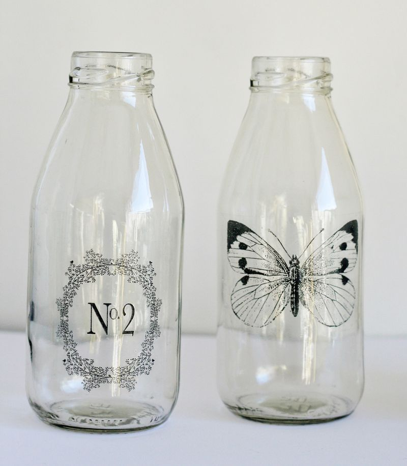 Sticky tape transfer decorated bottles (from Paperie 100 Creative Papercraft Ideas by Kirsty Neale)